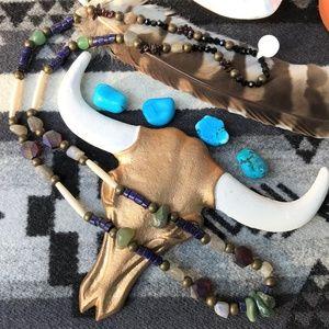 Native Made Labradorite & Lapis Boho Necklace